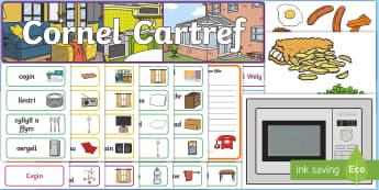 Cornel Cartref Pecyn Chwarae Rôl - ystafell Fyw, Ystafell Wely, Ystafell Ymolchi, Ystafel Amlbwrpas, Cyntedd, Hallway, Conservatory, Ba