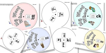Phonics Digraph Word Wheel Pack (ss-ff-ll-zz-ck) - Phoncs, Digraph, word wheel, DfES Letters and Sounds, Letters and Sounds, pack, resource pack, 'ss', 'ff', 'll', 'zz', 'ck'