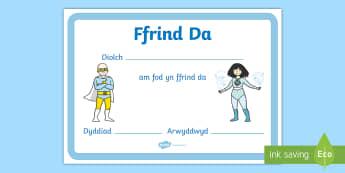 Tysgtysgrif Ffrind Da Wythnos gwrth Fwlio - Wythnos gwrth-fwlio, anti-bullying week, bwlio, bullying, ffrind da, good friend, help, help, cardig