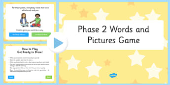 Phonics Words and Pictures Game Phase 2 - phonics, words, pictures, game, phase 2