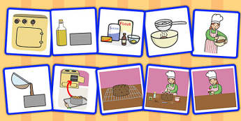 10 Step Sequencing Cards Making a Cake - sequencing, cards, cake