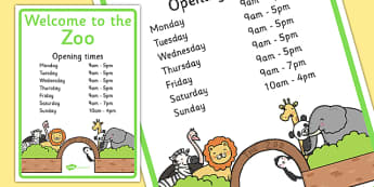 Zoo Opening Hours Signs - opening hours, role play, zoo, signs