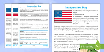 KS2 Inauguration Day Missing Words Differentiated Activity Sheets - KS1/2 Donald Trump Inauguration Day Jan 20th 2017, Inauguration Day, inauguration, election, vice-pr