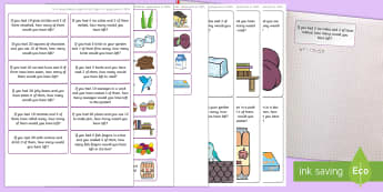 Subtraction-Themed Maths Challenge Sticky Avery Labels - Maths, Problems, Word Problems, KS1, Key Stage One, Scenario, Challenges, Stickers