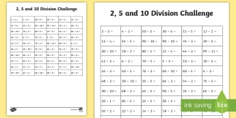 2,5 and 10 Division Challenge Activity Sheet - 2,5 and 10 Division Challenge Activity Sheet - KS1, maths challenge, multiplication challenge, times
