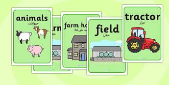 ملصقات عرض عن المزرعة إنجليزي عربي