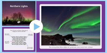 Northern Lights Poem PowerPoint - CfE, Northern Lights, aurora borealis, poem, poetry, describe, descriptive, writing, polar lands, sp