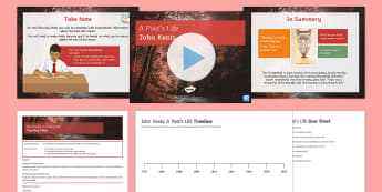 John Keats Context Lesson Pack - GCSE Poetry, Keats Life, Take Note, Note Taking, Quiz, Timeline