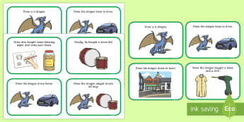 Initial dr Word Story Cards - Cluster reduction, phonology, articulation, dyspraxia, sentence level, speech sounds