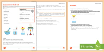 Separation of Rock Salt Investigation Instruction Sheet Print-Out - Investigation Help Sheet, science practical, method, instructions, rock salt, soluble, insoluble, se