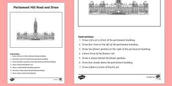 Canada's Parliament Building Read and Draw Activity Sheet - Uniquely Canadian, parliament, drawing, following directions, reading, art, language, comprehension.