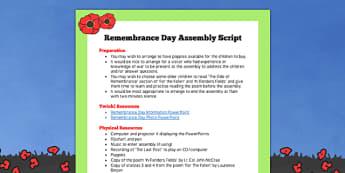 Remembrance Day Assembly Script - remembrance day, assembly