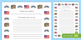 A State I Have Visited Writing Frame - States and Capitals, USA States, US States, United States, US Capitals, USA Capitals, US Capital Cit