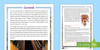 Carnival Fact File - ESL Carnival Reading