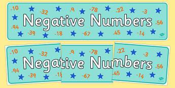 Negative Numbers Display Banner - negative numbers, display banner, display, banner