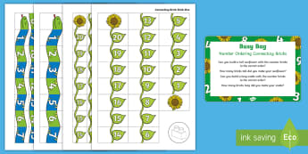 Number Order Connecting Bricks  Busy Bag Prompt Card and Resource Pack - maths, number, numerals, lego, duplo, building, sequence
