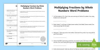 Multiplying Fractions by Whole Numbers Word Problems Activity Sheet - whole numbers, fractions, mixed numbers, improper fractions, multiplying fractions, repeated additio