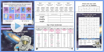 Year 4 Term 1A Week 1 Spelling Pack - Spelling Lists, Word Lists, Autumn Term, List Pack, SPaG, au spelling, aught spelling, planning