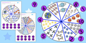 Number Matching Pegs Activity Space Themed - space, match, pegs, matching