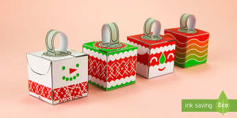 Simple 3D Block Baubles Christmas Decoration Activity Paper Craft - baubles, christmas, decorations, christmas tree, paper craft, nets