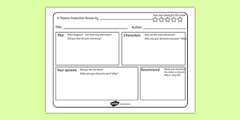 Theatre Production Review Writing Frame - theatre production, review