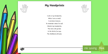 EYFS My Handprints Activity - poem, new term, new starters, first week back, all about me