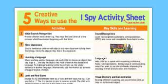 5 Creative Ways to Use I Spy Activity Sheet - I spy, creative, worksheet