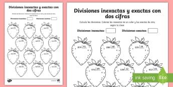 Ficha de actividad: Colorear por divisiones inexactas y exactas con dos cifras - fresas - dividir, división, repartir, cifras, divide, division, sharing, figures, digits, escrito, escrita,