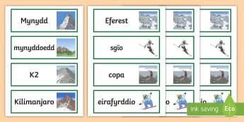 Cardiau Geiriau Mynyddoedd - mynydd, mynyddoedd, cop, crib, Eferest, Kilimanjaro, K2, eirlithriad, amgulchedd, tirlun, twristiaet