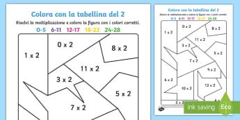 Colora con la tabellina del 2 Attività - colora, colorare, tabellina, del, due, moltiplicazioni, matematica, italiano, italian, materiale, sc