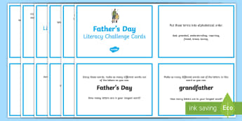 3-4 Father's Day Literacy Challenge Cards - father's day, year 3, year 4, literacy, challenge cards, fathers, dad, writing, spelling, grammar,A