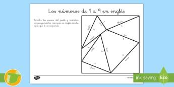 Puzle: Los números de 1 a 9 - Inglés - numbers, one, ten, lengua extranjera, english, Spanish-translation