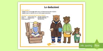 Le deduzioni Poster - le, deduzioni, poster, istruzioni, leggere, lettura, osservazioni, italiano, italian, materiale, sco