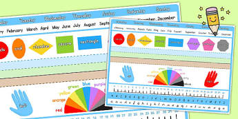 Key Skills Reference Mat - colours, numbers, alphabet, shapes