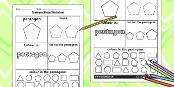 Pentagon Shape Worksheet - shapes, 2D shapes, tracing, numeracy
