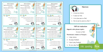 Hobbies Translation Challenge Cards - leisure, free time, passe-temps, temps libre, french, French