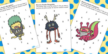 Number Recognition Monster Worksheet - monster, number, worksheet