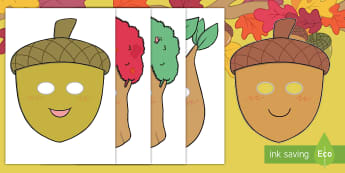 Little Acorns Role-Play Masks - Twinkl originals, fiction, KS1, EYFS, story re-telling, Speaking and Listening, Drama