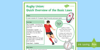 Rugby Union: Basic Laws of the Game Display Poster - Rugby, KS3, Laws of the game, display, poster, Rugby union, A4, A3
