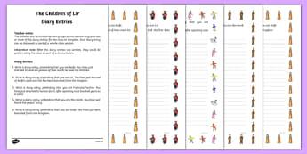 The Children of Lir Diary Entries Activity Sheet - Irish history, Irish story, Irish myth, Irish legends, The Children Of Lir, diary entries, writing, worksheet