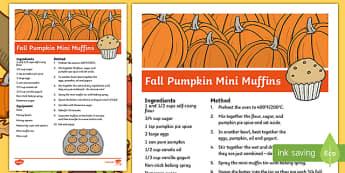 Fall Pumpkin Mini Muffins Recipe