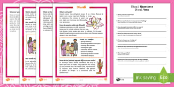 Diwali Differentiated Reading Comprehension Activity English/Afrikaans - Celebration, questions, story, fees, vrae, storie, EAL