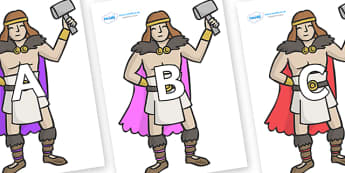 A-Z Alphabet on Viking Warriors - A-Z, A4, display, Alphabet frieze, Display letters, Letter posters, A-Z letters, Alphabet flashcards