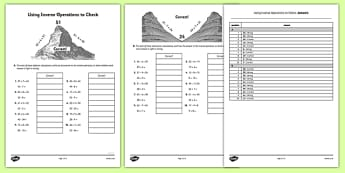 Using Inverse Operations to Check Worksheet - using, inverse, operations, check, worksheet