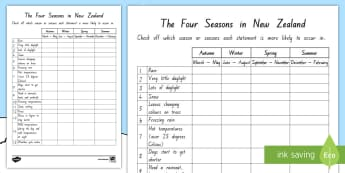 The Four Seasons in New Zealand Activity - New Zealand, Winter, Snow, weather, months, year, time, temperature