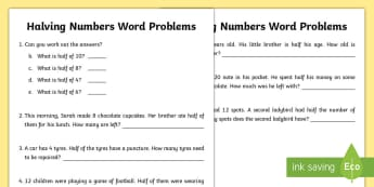 Halving Numbers Word Problems Activity Sheet - Amazing Fact Of The Day, activity sheets, powerpoint, starter, morning activity, november, maths, ha