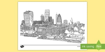 London Skyline Mindfulness Colouring Page - the shard, the gherkin, london eye, st paul's Cathedral,