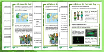 KS1 St. Patrick\'s Day Differentiated Comprehension Go Respond Activity Sheets - KS1 St Patrick's Day UK March 17th 2017, Develop pleasure in reading, motivation to read, vocabular