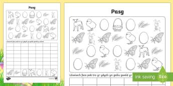 aflen Weithgaredd Cyfri a Graffio Lluniau'r Pasg -  Pasg, Easter, rabbits, cwningid, wyau, eggs, cyfri, counting, lliwio, colouring in, graffio, graph,