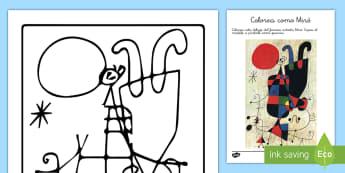Ficha de actividad: Colorea como Miró  - Miró, Surrealismo, Arte, Dibujo, Pintor,Spanish